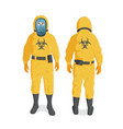 man in yellow radiation protective suit and helmet vector image vector image