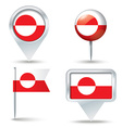 Map pins with flag of Greenland vector image
