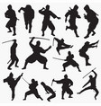ninja silhouettes vector image