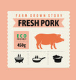 pork meat label with text and icon vector image vector image