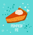 pumpkin pie with whipped cream isolated on blue vector image vector image