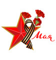 red carnations and star symbol of russian victory vector image