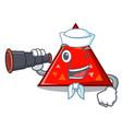 sailor with binocular triangel mascot cartoon vector image vector image