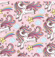 seamless pattern with unicorn in sky on a pink vector image vector image