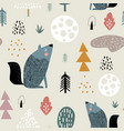 seamless woodland pattern with wolf moon and hand vector image vector image