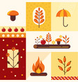 set of autumn symbolsmushroom umbrella vector image