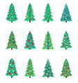 set of different christmas trees icon happy new vector image vector image