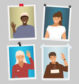 set pictures about people wave their hands vector image vector image