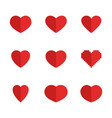 set red heart symbols heart icons in vector image
