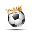 soccer ball in golden royal crown vector image