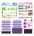stands and cosmetic products flat set with vector image