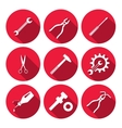 Tools icons set Glue pliers tongs wrench key vector image vector image