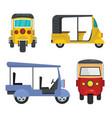 Tuk rickshaw thailand icons set flat style vector image