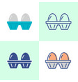 two eggs pack icon set in flat and line style vector image vector image