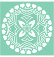 white heart round circle mandala green background vector image