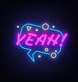 yeah neon sign comic speech bubble with vector image vector image