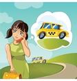 Yong woman calling a taxi vector image