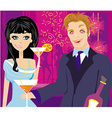 drunk guy talks with a beautiful girl vector image