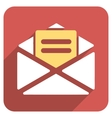 Open Mail Flat Rounded Square Icon with Long vector image