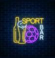 glowing neon sport bar concept on dark brick wall vector image