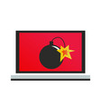 a computer with a virus bomb vector image