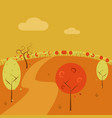 afternoon park hill simple art autumn scenery vector image