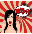 Angry sexy brunette girl pop art vector image