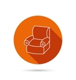 Armchair icon Comfortable furniture sign vector image vector image