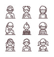 avatar male female men women cartoon character vector image