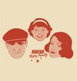 avatar retro family cartoon faces woman man and vector image vector image
