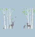 birch tree with deer and birds silhouette vector image vector image