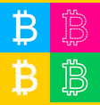 bitcoin sign four styles of icon on four color vector image vector image