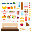 breakfast in bed flat with attributes and meals vector image
