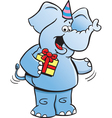 Cartoon Birthday Elephant vector image vector image