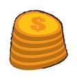 cartoon coin pile dollar sketch vector image
