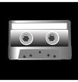cassette on black vector image vector image