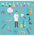 Chemical and menicine laboratory equipment icon vector image