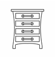 Chest of drawers icon outline style vector image vector image