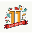 colorful happy birthday number 11 flat line design vector image vector image
