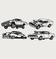 custom cars vintage monochrome set vector image