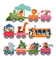 cute animals train playful children zoo trains vector image