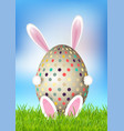 cute easter background with bunny holding egg vector image vector image