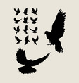 Dove Flying Silhouettes vector image vector image