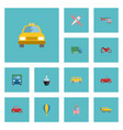 flat icons aircraft jeep boat and other vector image vector image