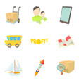forwarding icons set cartoon style vector image vector image