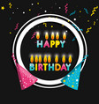 frame birthday with hats and candles vector image vector image