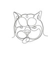 french bulldog head continuous line vector image vector image