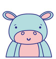 full color adorable and happy hippopotamus wild vector image vector image