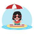girl eat fresh watermelon bite on sandy island vector image vector image