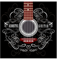 grungy background with black acoustic guitar vector image vector image